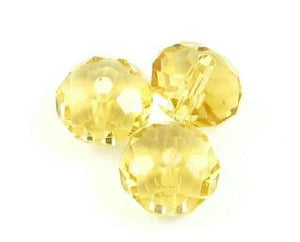Chinese Crystal, Rondelle, Light Amber, 6x8mm (20 pcs)
