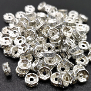 Rhinestone Rondelles, Silver/Clear (4, 5, 6, 8 or 10mm)
