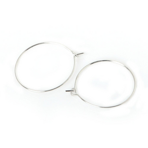 Earring/Wine Charm Hoops, Nickel, 20mm (10prs)