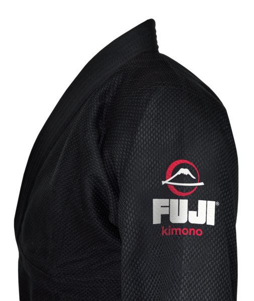 Fuji sports All Around BJJ Gi beginner black side left shoulder logo stitching