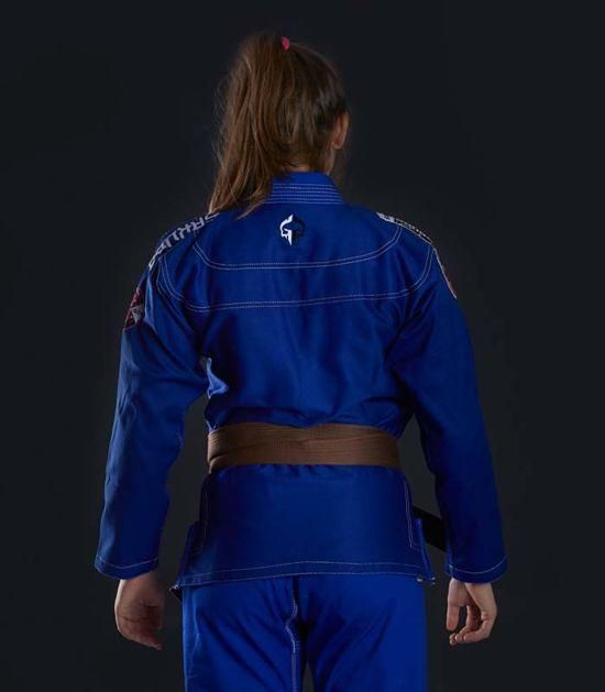 Back view of a Ground Game Sakura BJJ Women`s Gi Blue