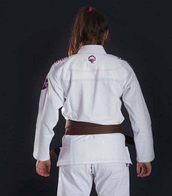 Back view of a Ground Game Sakura BJJ Women`s Gi White