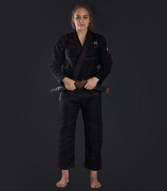 Front view of a Ground Game Sakura BJJ Women`s Gi Black
