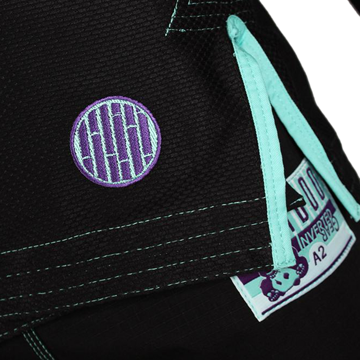 Inverted Gear Bamboo Gi bjj black front jacket logo closeup