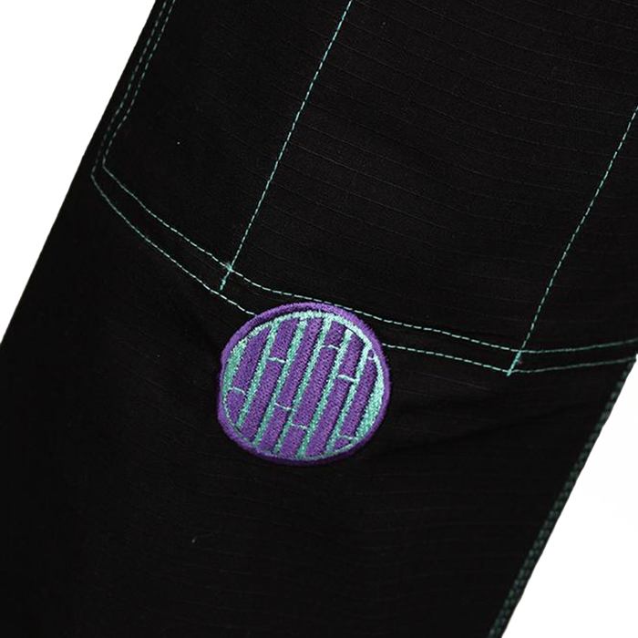 Inverted Gear Bamboo Gi bjj black front shin logo closeup patch