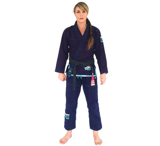 The Fuji Sports Suparaito Navy Womens BJJ Gi front 1600x1600