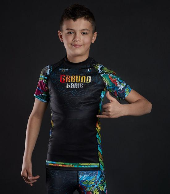 Front view of a Ground Game Carioca Kids Rashguard