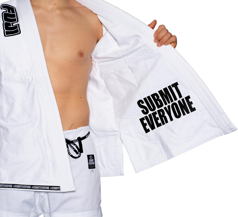 fuji submit everyone bjj gi white jacket