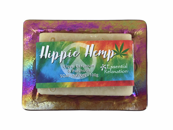 Glass Soap Tray 'psychedelic waves' with Earth-Friendly Soap 'hippie hemp' Gift Set - Essential Relaxation
