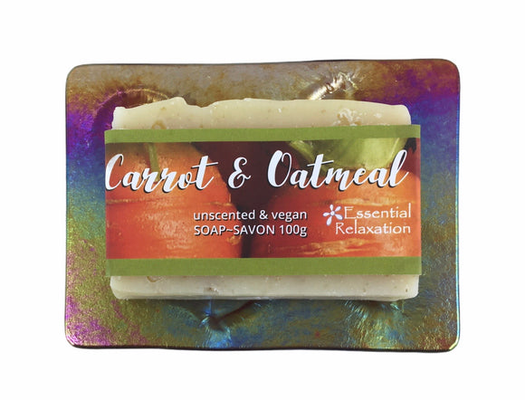 Glass Soap Tray 'happy dragonfly' with Earth-Friendly Soap 'carrot & oatmeal' Gift Set - Essential Relaxation