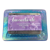 Glass Soap Tray 'blue waves' with Earth-Friendly Soap 'lavenchouli' Gift Set - Essential Relaxation