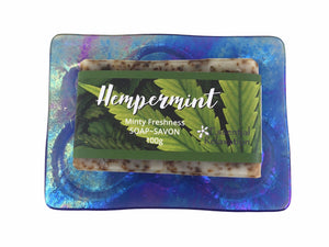Glass Soap Tray 'bigger bubbles' with Earth-Friendly Soap 'hempermint' Gift Set - Essential Relaxation
