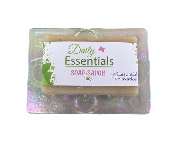 Glass Soap Tray 'tiny bubbles clear' with Earth-Friendly Soap 'daily essentials' Gift Set - Essential Relaxation