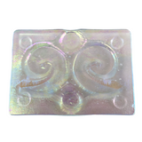 Glass Soap Tray 'clear swirl' with Earthy-Friendly Soap 'calendula' Gift Set - Essential Relaxation