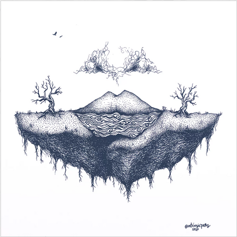 An illustration of a piece of ground with trees and clouds floating above the earth.
