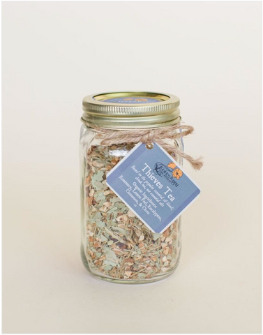 Tea in a mason jar wrapped with string