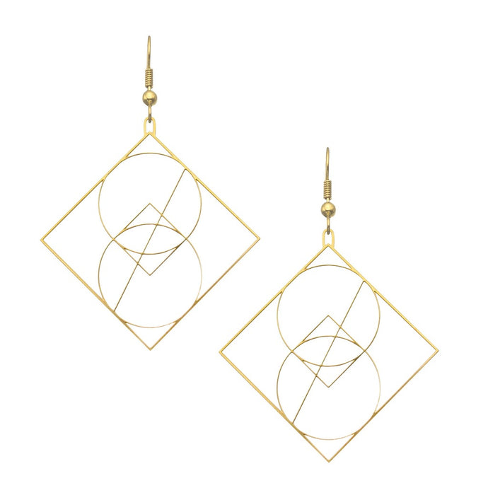 Vesica Piscis | Geometric Drop Earrings