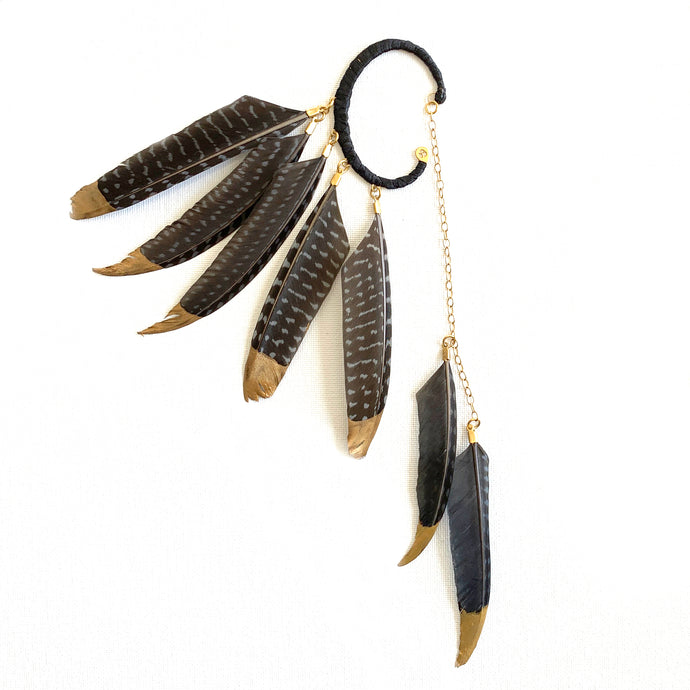 Skaoi Black Speckled Feather Ear Cuff