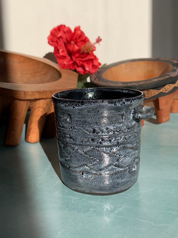 Hand Carved Ceramic Tatau Mug - 8 oz / 235 ml - Black & White Glaze