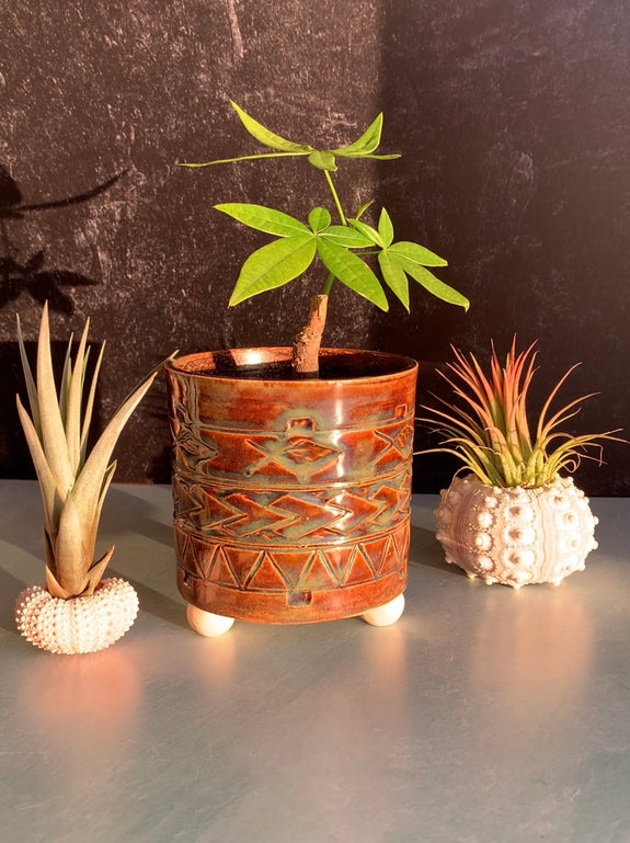 Hand Carved Ceramic Tatau Planter - Limu Glaze - Discounted - See description!