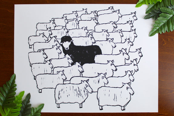Black Sheep Art Block Print