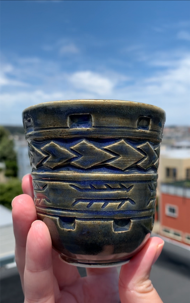 Hand Carved Ceramic Tatau Cup -  8oz / 235ml - Tai Masa Glaze