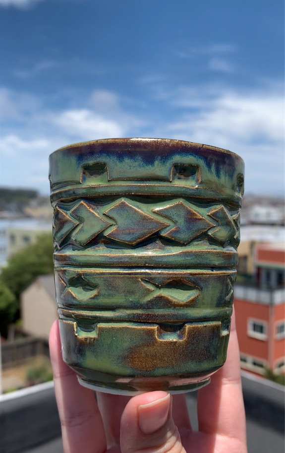 Hand Carved Ceramic Tatau Cup -  8oz / 235ml - Limu Glaze