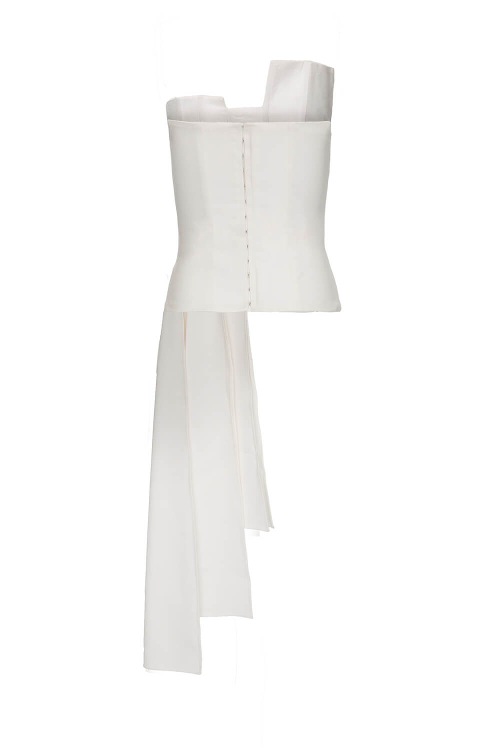 WHITE BUSTIER WITH LONG PLEATED DETAIL