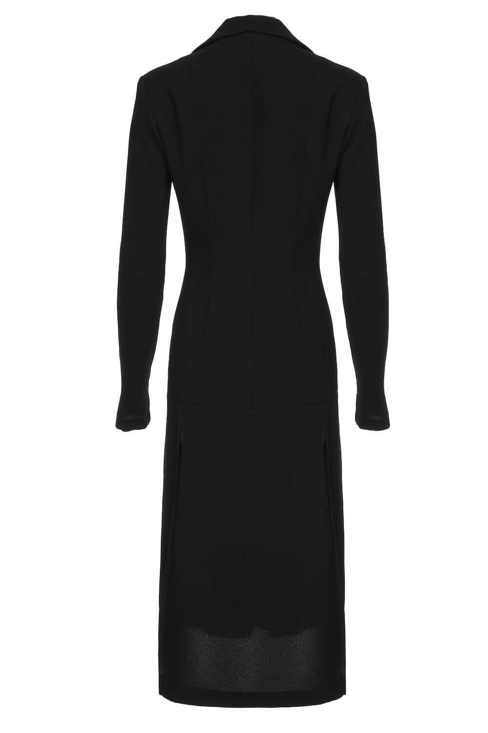BLACK DRESS WITH LONG COLLAR