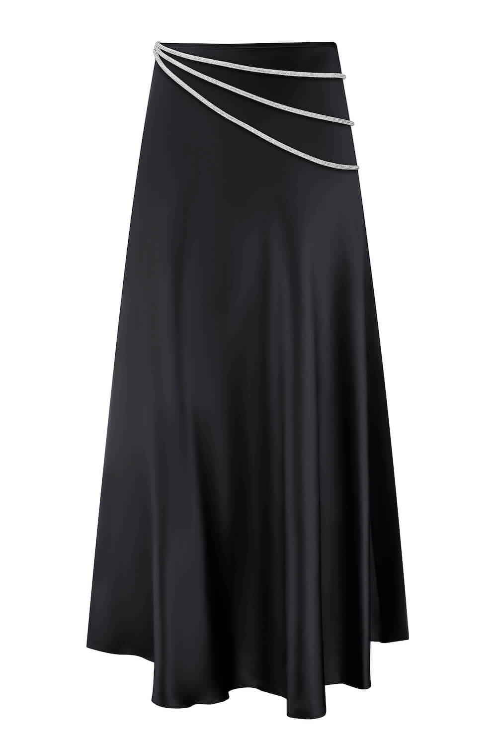 LAETITIA SLIT-HEM SILK MIDI SKIRT