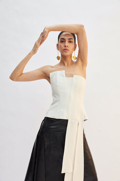 WHITE BUSTIER WITH LONG PLEATED DETAIL | Janashia | CULT MIA