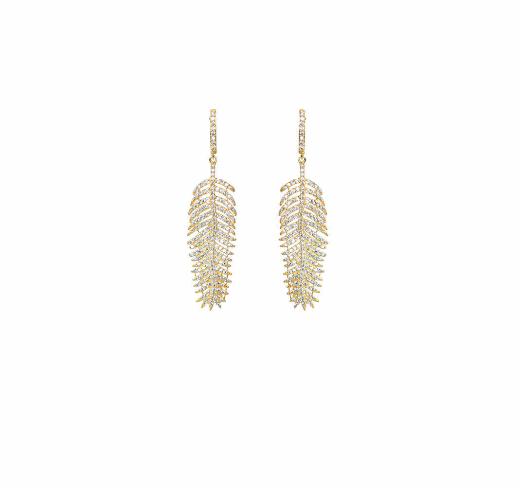 GOLD PLATED FEATHER EARRINGS