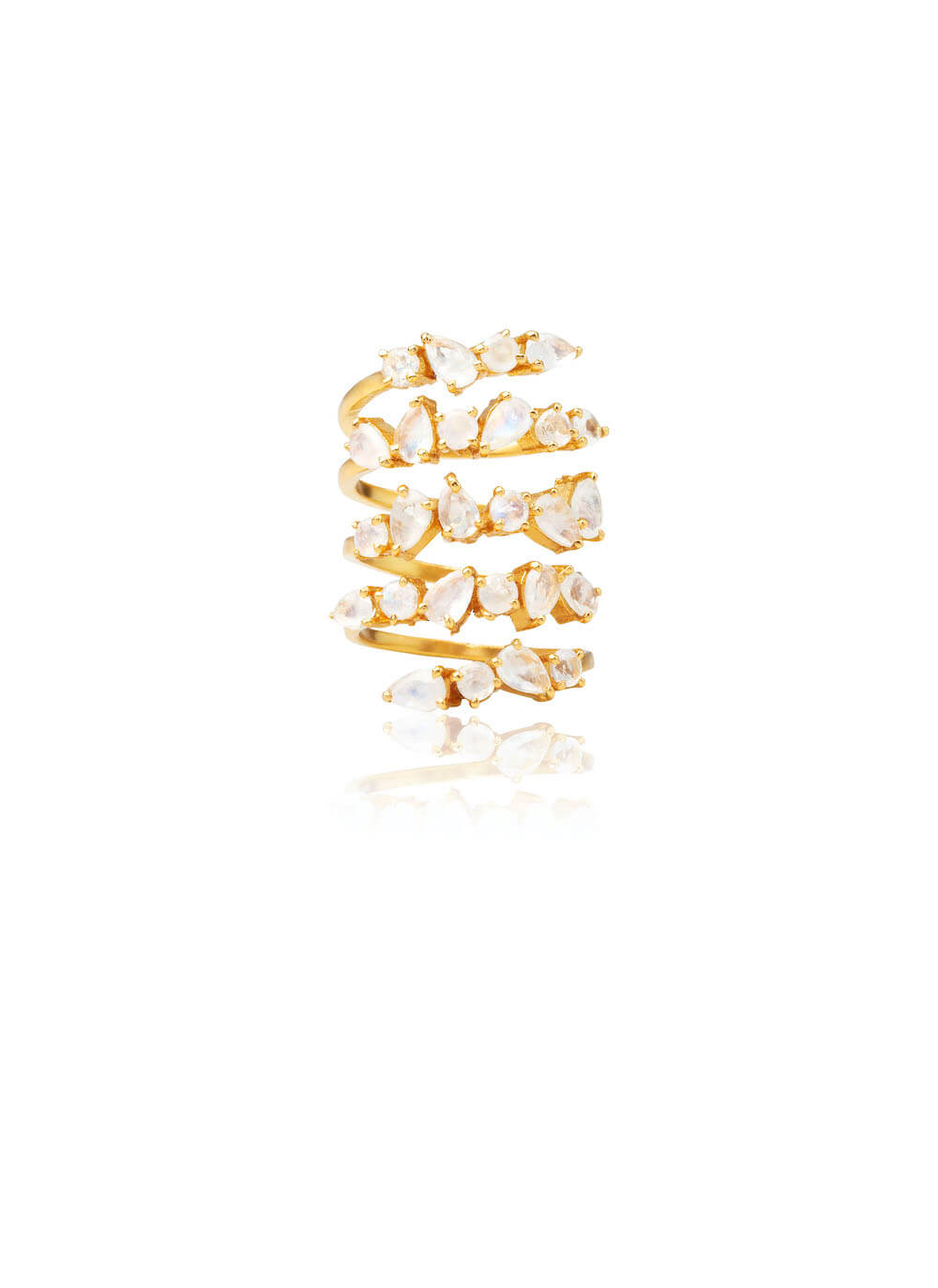 MOONSTONE GOLD VERMEIL SPIRAL RING