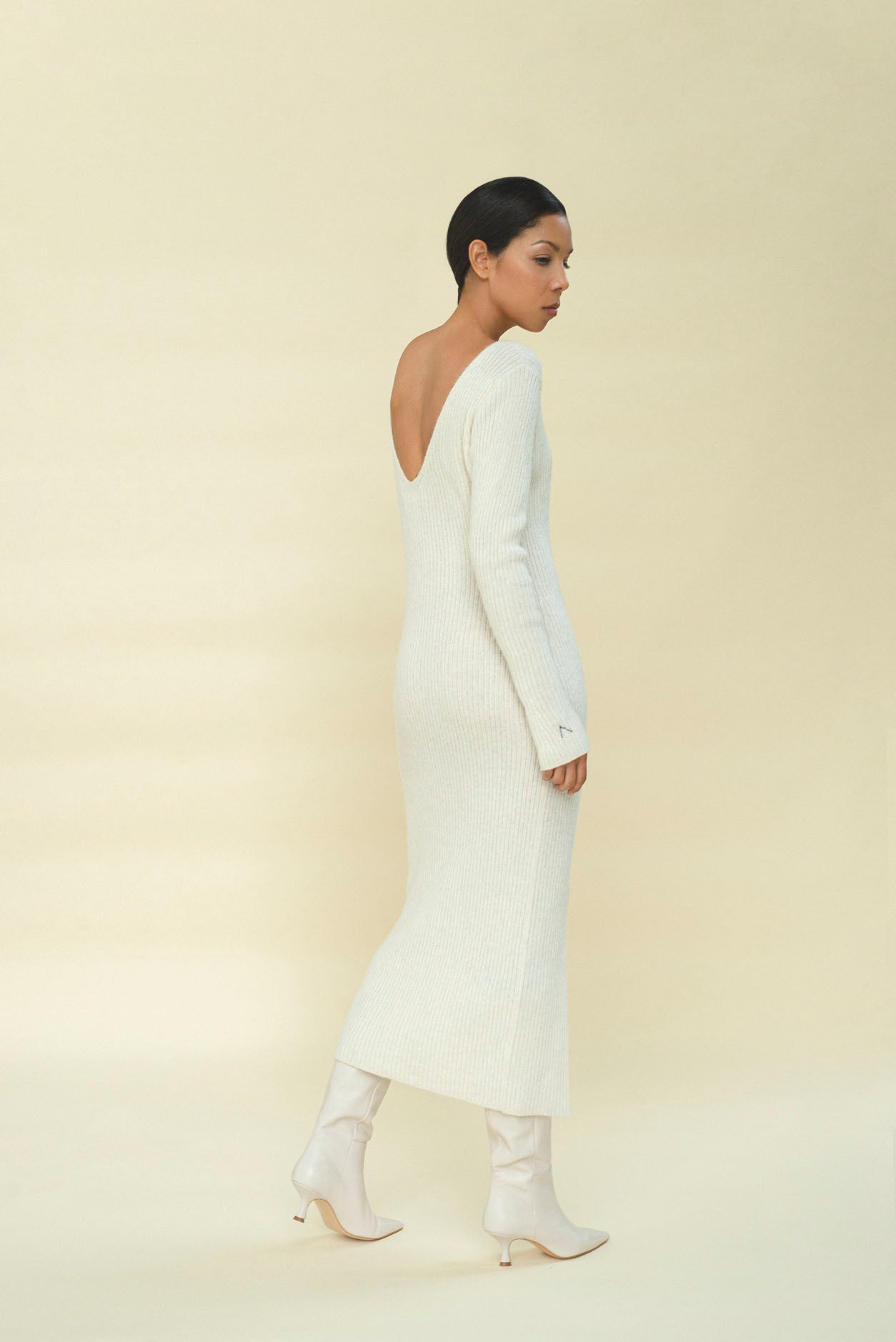 CAMILLE RIBBED ALPACA DRESS