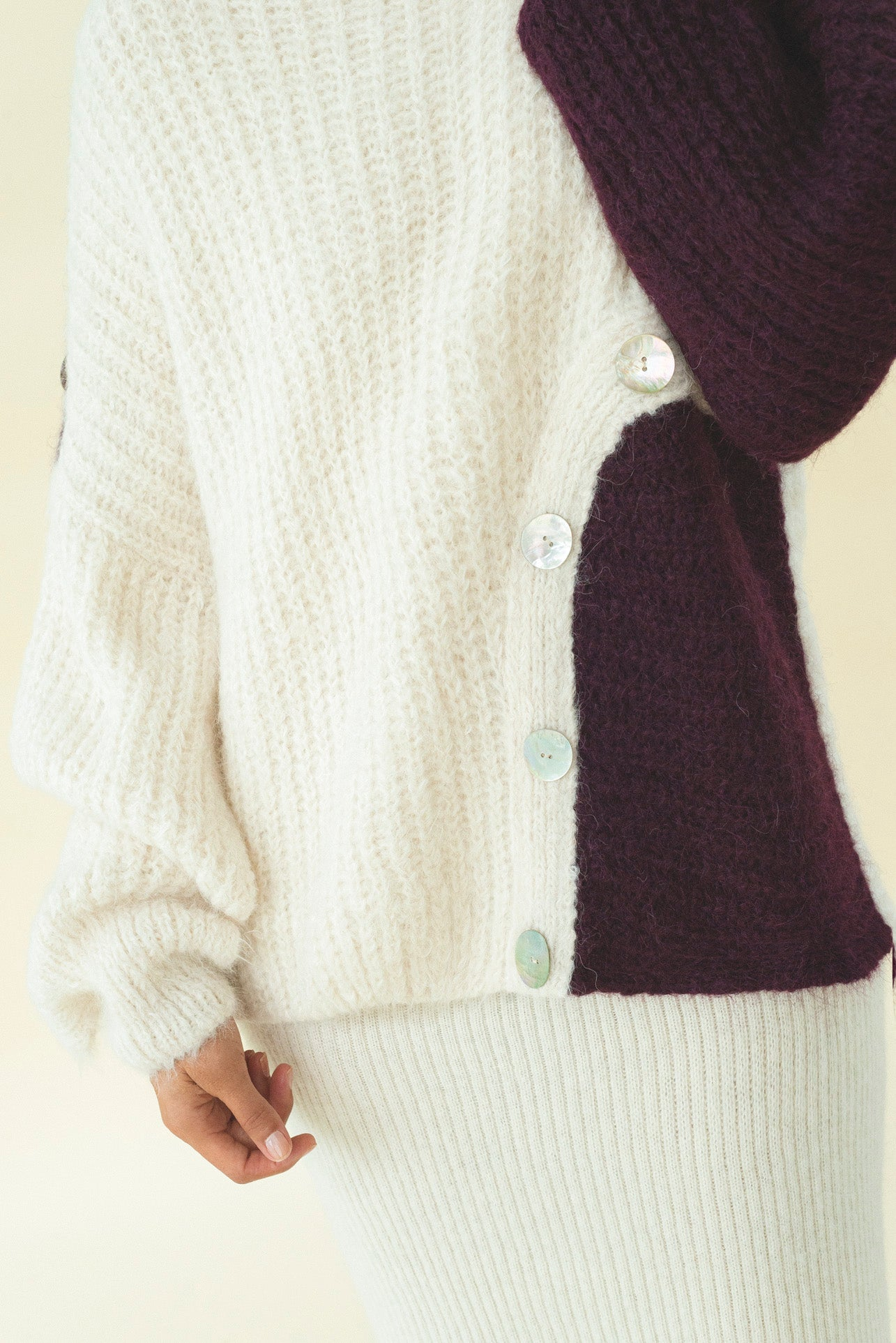 EBBA TWO-TONE ALPACA-BLEND SWEATER