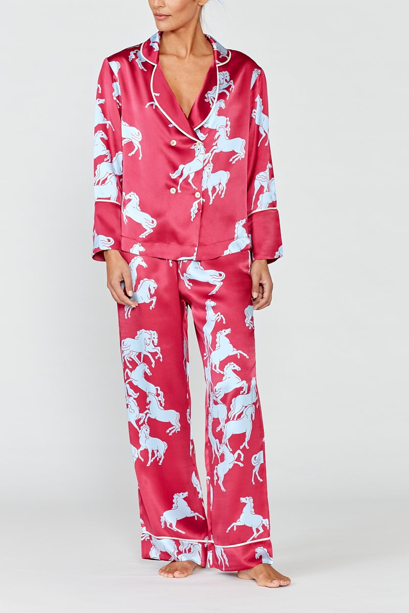 CAMARGUE RED HORSE SILK PYJAMA SET