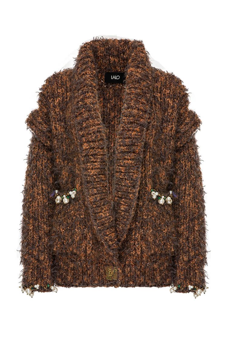 PEARL EMBROIDERED WOOL AND MOHAIR-BLEND CARDIGAN
