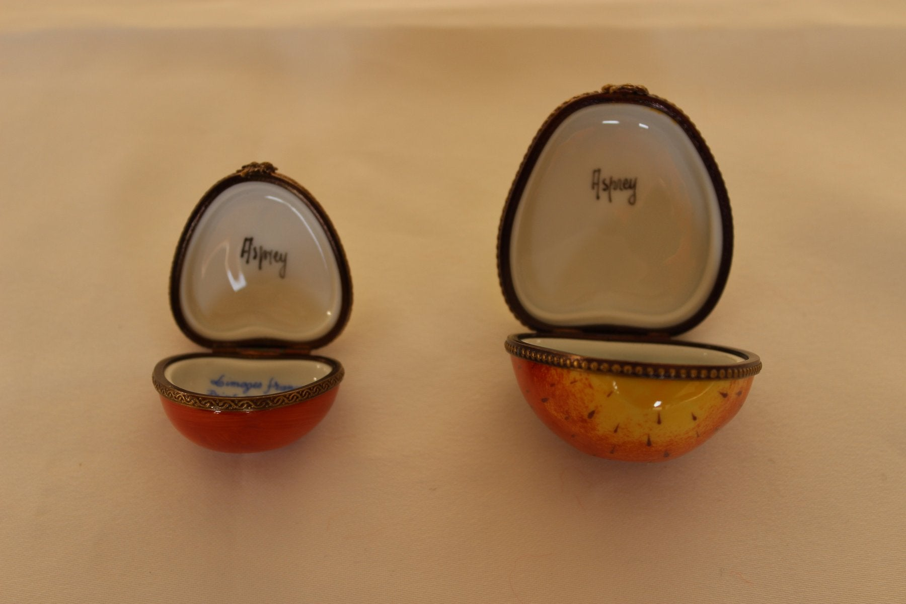 1920S SET OF ASPREY APPLE TRINKET BOXES