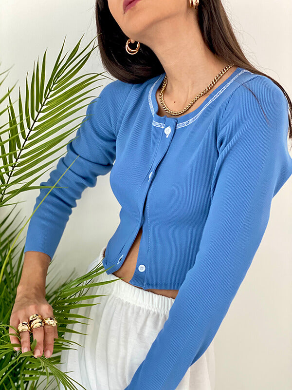 AMELIA CROPPED RIBBED COTTON TOP