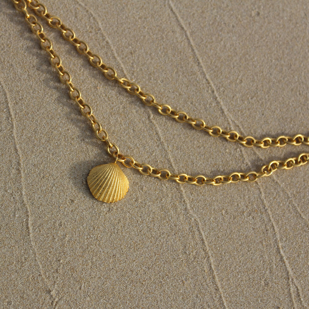 SHELL DOUBLE CHAIN NECKLACE