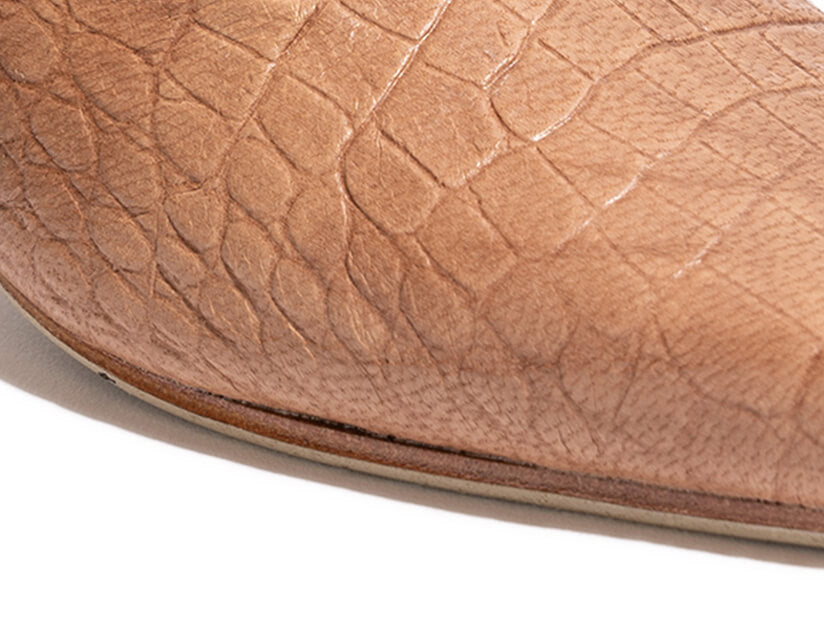 TAN CROC MESSINA MULES