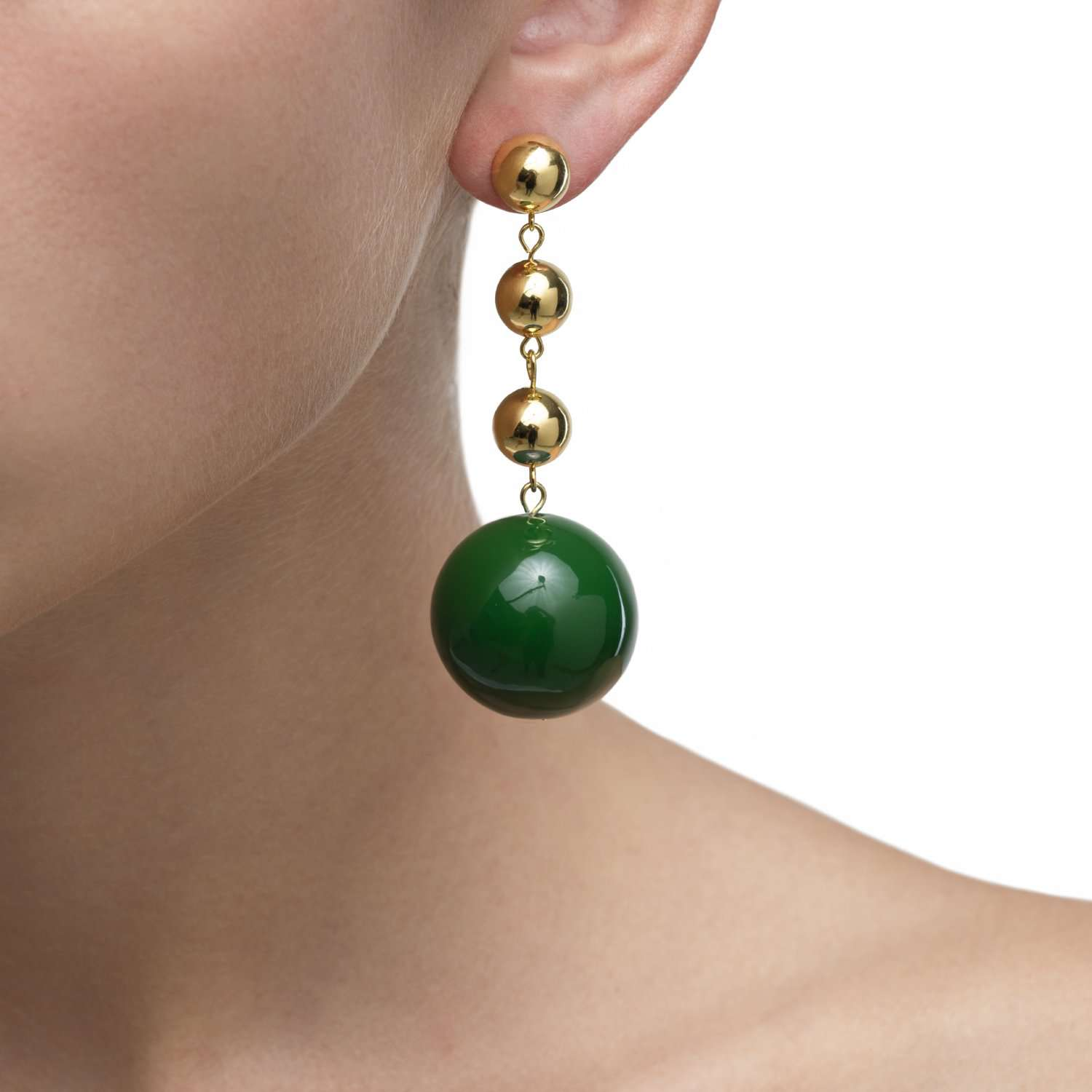 GALAXY GREEN BALL EARRINGS