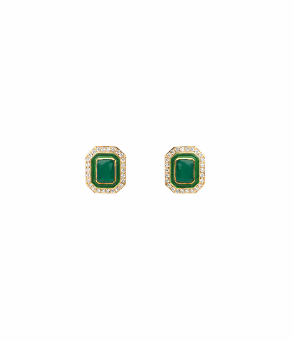GREEN AGATE GOLD PLATED STUD EARRINGS