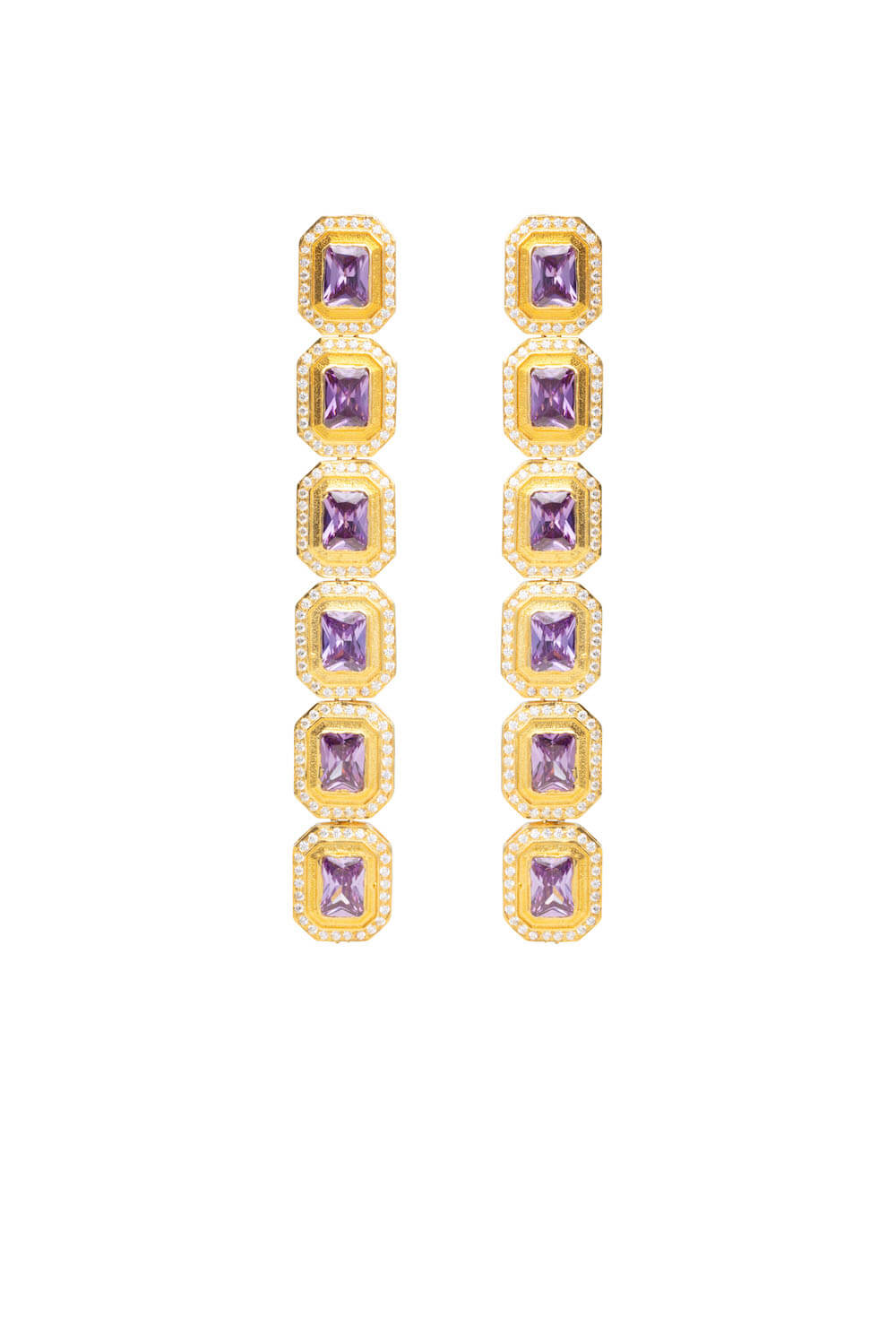 AMETHYST GOLD PLATED TEADROP EARRINGS