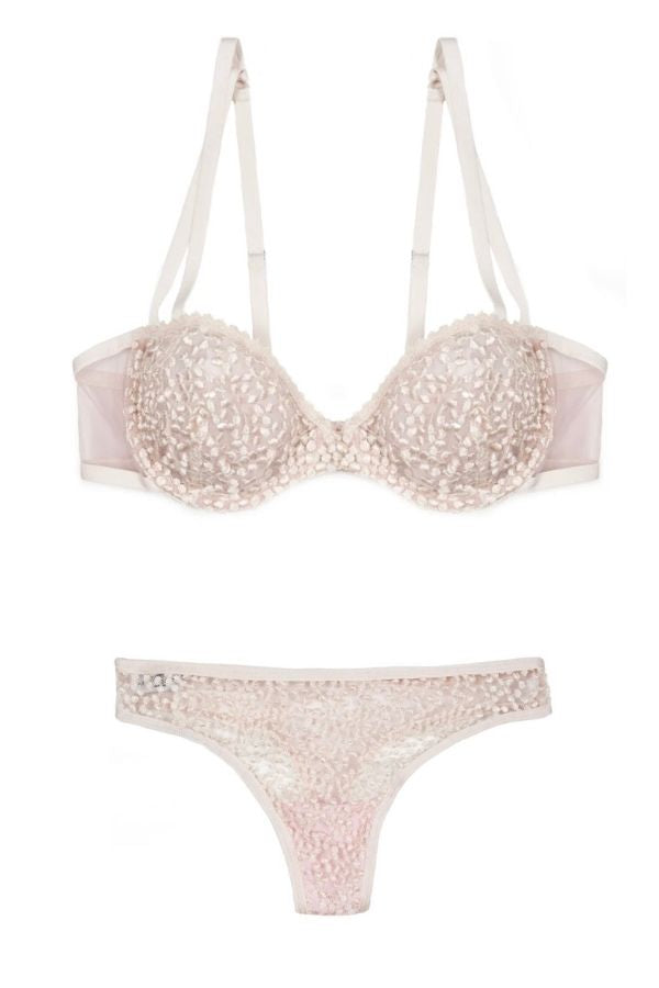 LUZ EMBROIDERED TULLE BRA & THONG SET