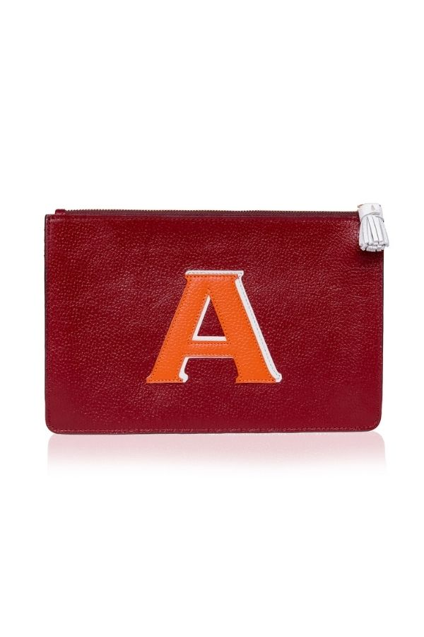 ALPHABET LEATHER CLUTCH