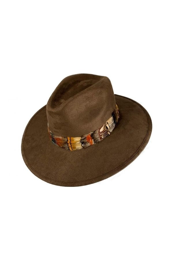 FEATHER-TRIMMED FAUX SUEDE FEDORA HAT