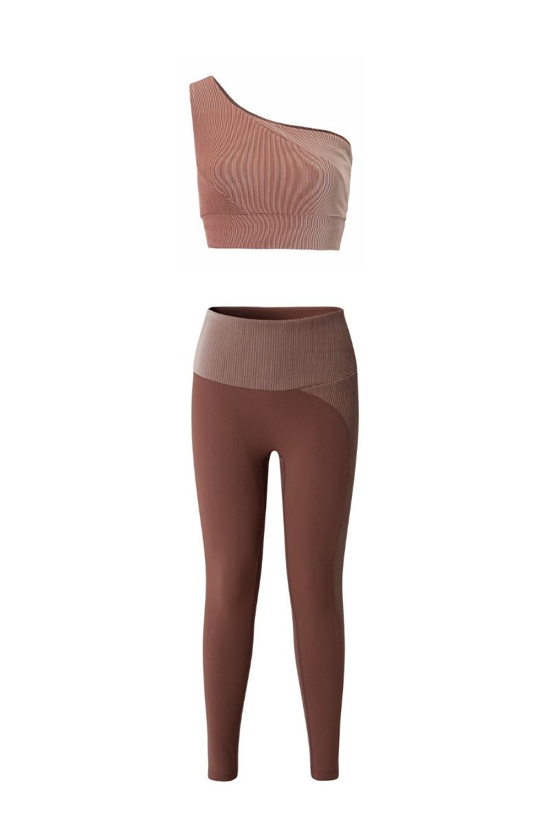 PALM RIBBED SPORTS BRA & LEGGINGS SET