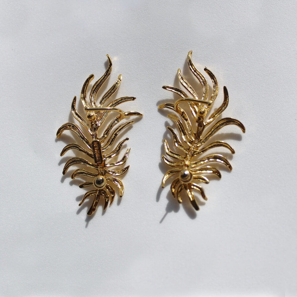 DANCING LEAF CUFF EARRINGS