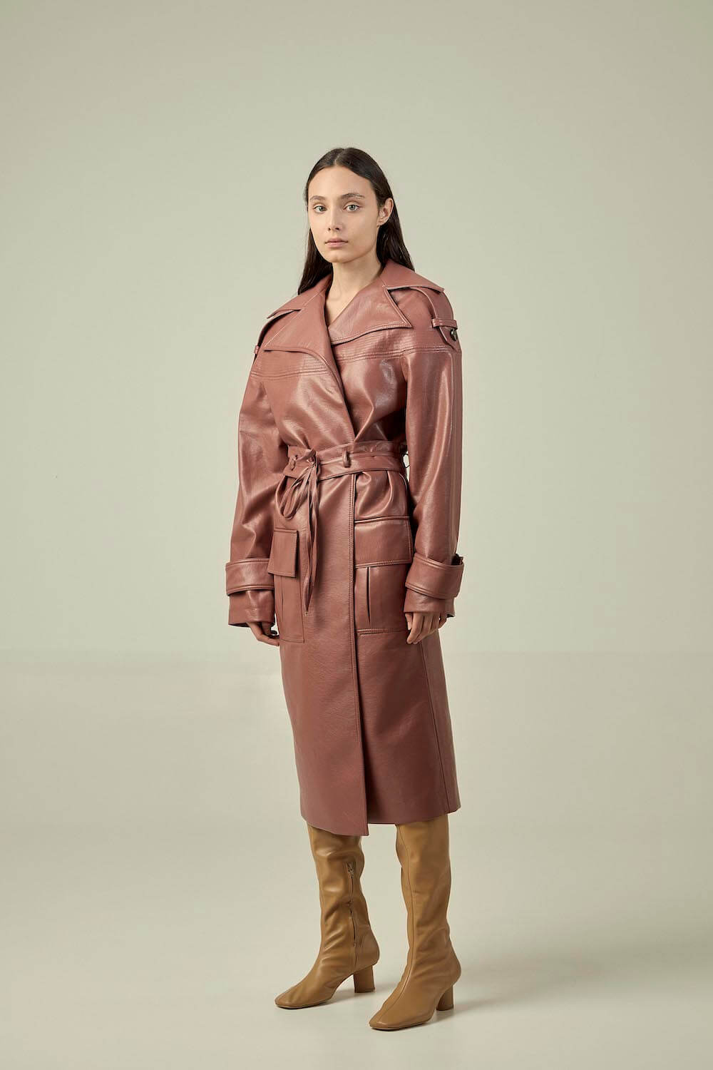 DARK PINK VEGAN LEATHER TRENCH